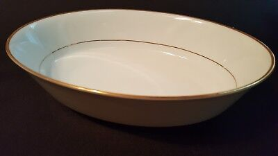 "Noritake Heritage Fine China 9-3/4"" x 7"" Oval Vegetable Serving Bowl Gold Trim"