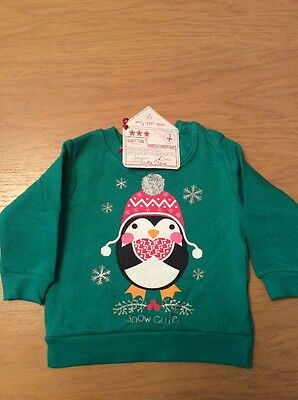 *BNWT* Unisex Green Penguin Christmas Jumper By BABYTOWN (9-12 Mth) FREE UK P&P