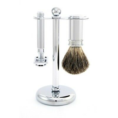 EDWIN JAGGER 3 Piece Chrome Plated Shaving Set Brand New Boxed