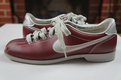 Rare Vintage NIKE Size 8.5 Maroon Red Silver Gray Pre Owned Used Bowling Shoes