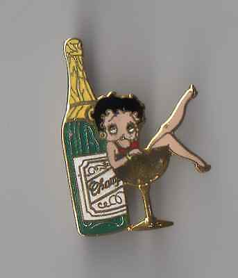 Retired Betty Boop Pin Posing in Giant Champagne Glass with Bottle Sexy Pin-Up