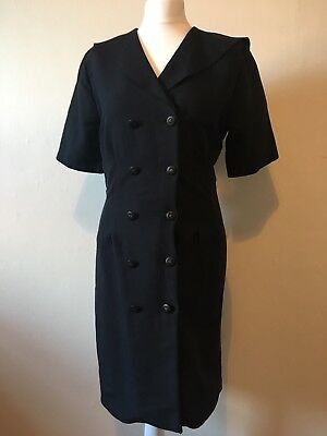 Vintage Black Double Breasted Fitted Dress Size 10 Sailor Style Collar Buttons