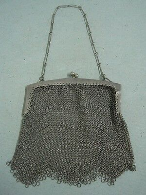 Antique boar Silver big Chain Mail Mesh Lady Coin Purse