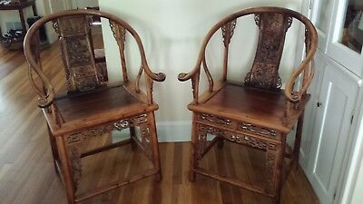 "Antique Chinese Arm Chairs ""Scholar Chairs""  Qing Dynasty EXTREMELY RARE"