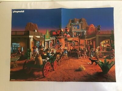 Vintage Playmobil 2 Sided Poster Western Town and Fort Glory / Indian Camp