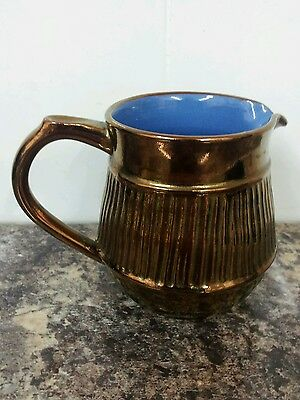 Vintage Welsh Studio Pottery Copper Lustre Dragooned Jug Signed Creigiau Pottery