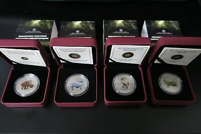 4 Coin Canada 25 Cent Prehistoric Creatures Dinosaur Series Glow In the Dark Set
