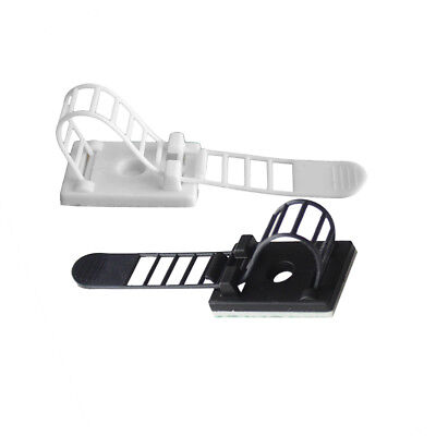 Cable Clip Adhesive Adjustable Cable Mount Cord Management Tie Black White 20Pcs