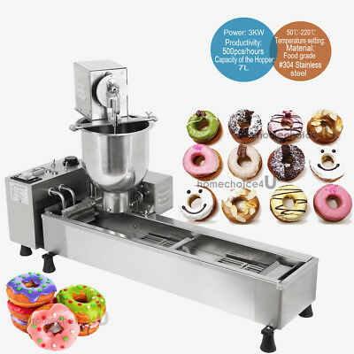 Commercial Automatic Donut Maker Making Wide Oil Tank3 Machine w/ 3 Free Mold