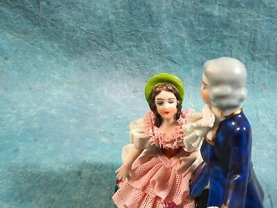 Vintage Sandizell Hoffner Dresden Lace Figurine Mint German Man Courting Woman