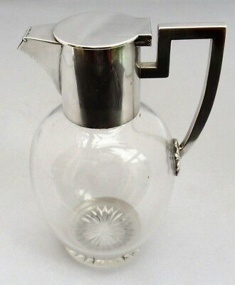 John Grinsell & Sons c1890 small claret jug, glass & silver plate Dresser style
