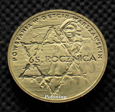 COIN OF POLAND - 65th ANNIVERSARY OF WARSAW GHETTO UPRISING WORLD WAR II (MINT)