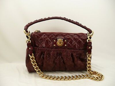 0683840209a NWOT Marc Jacobs Julianne Stam Quilted Burgundy Red Leather Purse Handbag