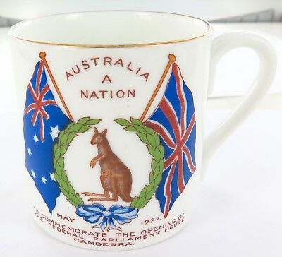 "1927 Superb Ansley Commemorative Mug. ""Australia A Nation"" Canberra Parliament"