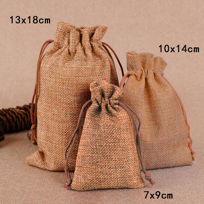 10/50 Lots Small Burlap Linen Jute Sack Jewelry Rustic Pouch Drawstring Gift Bag