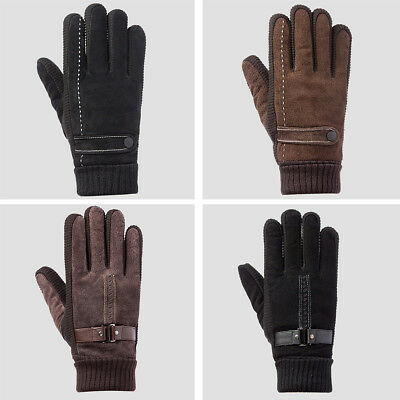 Men's Outdoor Cycling Leather Gloves Screen Touch Windproof Warm Velvet Gloves