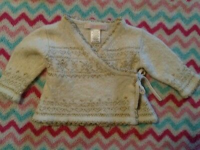 Janie & Jack girls gold snowflake holiday lambs wool sweater size 0-3 months