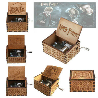 Harry Potter Engraved Wooden Music Box Crafts Collectibles Toys Christmas Gift