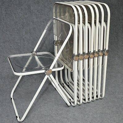 8 Rare White Plia Folding Chairs Giancarlo Piretti Castelli Made in Italy