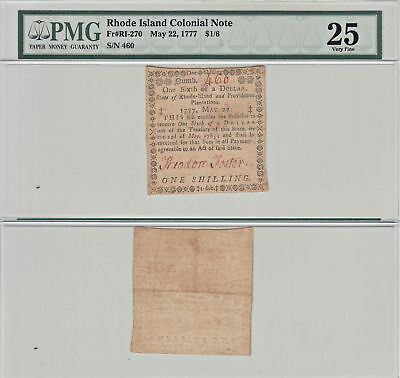 5/22/1777 $1/6 Rhode Island Colonial Currency PMG Very Fine-25