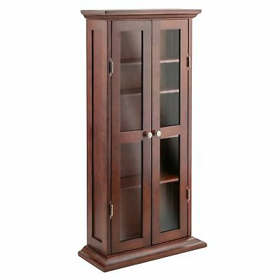 Winsome Wood CD/DVD Cabinet with Glass Doors Antique Walnut