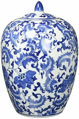Oriental Furniture Classic Asian Spice Jar 12-Inch Chinese Blue and White Por...