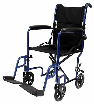 Karman Healthcare LT-2017-BK Folding Aluminum Transport Chair Black 17-Inch S...