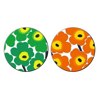 2x Marimekko Unikko Pocket Hand Mirrors Flower Patterns Fabric Kitsch Gift
