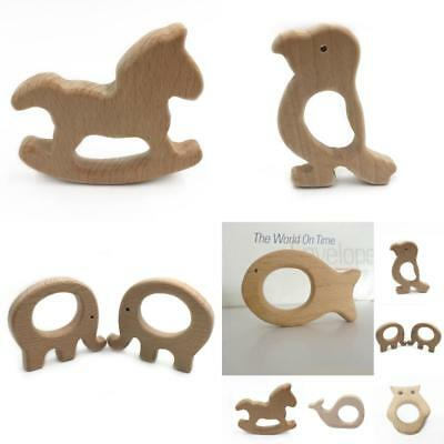UK Cute Wooden Natural Beech Baby Bite Teether Animal Sensory Toy Teething Gift