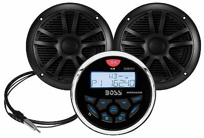 BOSS AUDIO Marine-gauge System with In-dash Mechless Am/Fm Receiver Speakers ...