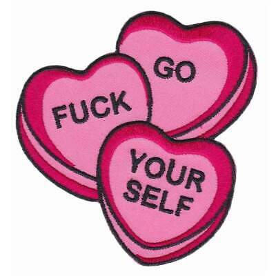 Sourpuss Candy Hearts Iron On Patch Punk Gothic Rockabilly Tattoo Embroidered