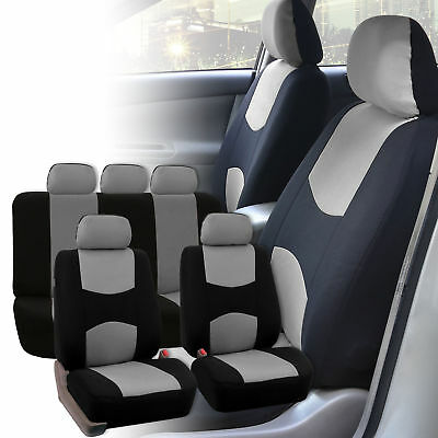Black Gray Car Auto SUV Seat Covers Protector Front & Rear 5 Bucket Universal