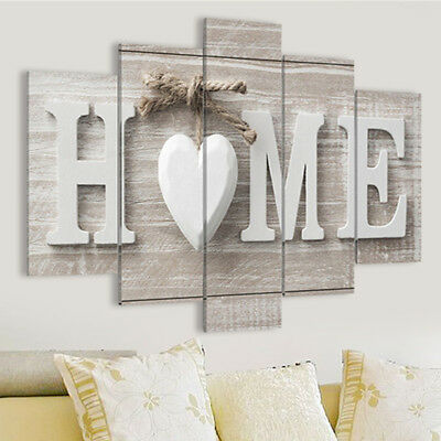 5 Panels Love HOME Wall Art Print Pictures Canvas Painting Decoration Unframed