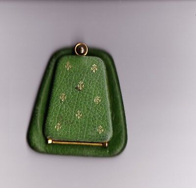 Vintage Mannelli made in Roma Green Leather Gold Embossed Coin Purse