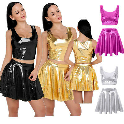 2 Piece Women Liquid Wet Look Shiny Crop Tank Top Pleated Skirts Outfit Clubwear