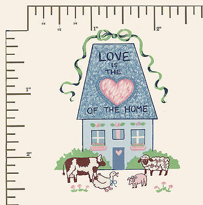 #600.  4 x Waterslide ceramic decals Decoupage. House Love heart home Country