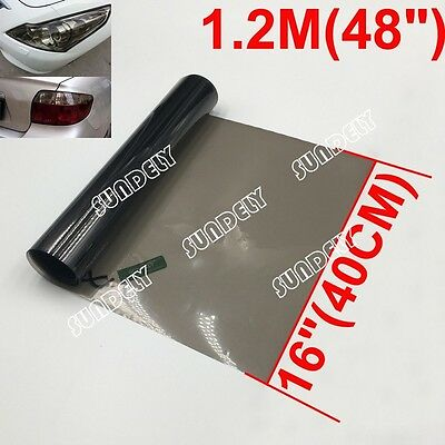 "Black Light Smoke Tint Vinyl Film 16"" x 48"" Headlight Taillight Fog Wrap Cover"