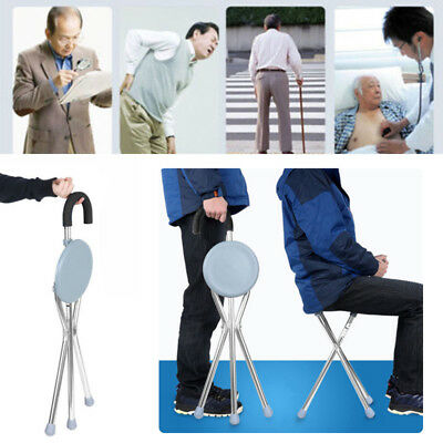 Folding Aluminium Tripod Cane Hiking Chair Portable Walking Stick With Seat