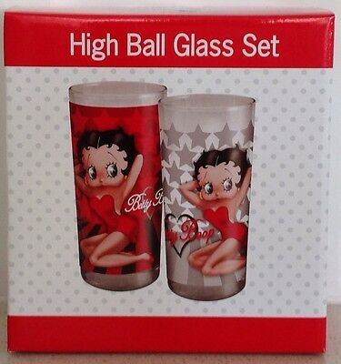 Betty Boop Bedazzled Hi Ball Drinking Glasses X 2 .