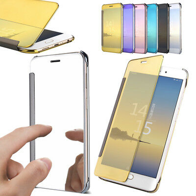 New For Samsung Galaxy Mirror Clear View Window Smart Acrylic Flip Cover Case