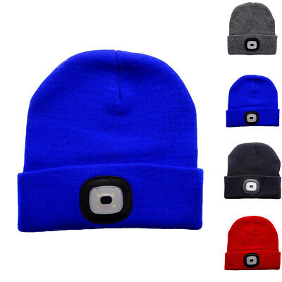Fashion LED Light Cap Knit Beanie Hat Outdoor Hunting Camping Fishing Head Lamp