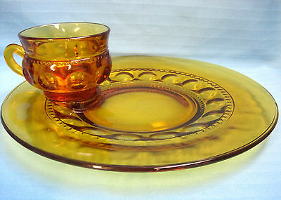 Indiana Kings Crown Thumb Print Amber Depression Glass Snack Set 3 Plates Cups