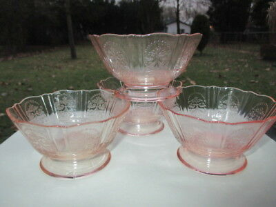Pink American Sweetheart Depression Glass 4 Footed Fruit Pudding Dessert Bowls
