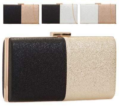 New Faux Leather Metallic Hard Compact Prom Bridal Ladies Clutch Bag