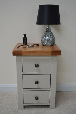 Tuscan Grey Painted Oak 3 Drawer Bedside / Solid Wood Beside Cabinet / New