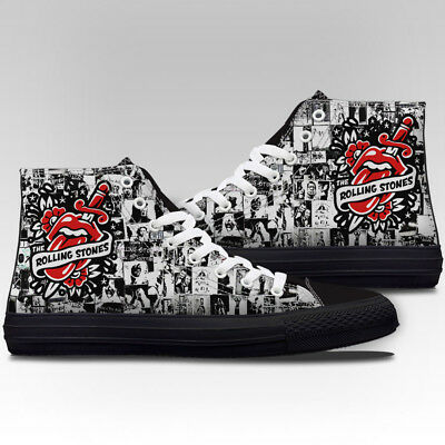 a4b876a85d4b5 THE ROLLING STONES CANVAS SHOES Rare Band FASHION NEW