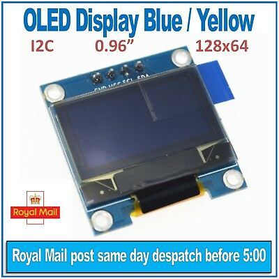"OLED Display Blue / Yellow 128X64 0.96"" I2C SSD1306 For Arduino, ESP8266 uPython"