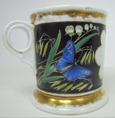 Antique BIRD BUTTERFLY Shaving Mug decorative occupational flowers plants handle