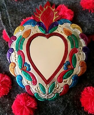 Mexican Tin Folk Art Mirror Large Flaming Heart Authentic Artisan By Hand