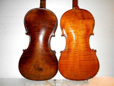 "Antique Lot of 2 Old Vintage 'Stainer"" 2 Pc Back Violins - No Reserve"